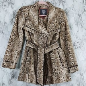 Vince Camuto Snake Crop Belted Trench Coat P XS